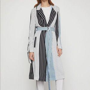 BCBGMaxAzria long blue striped trench coat M